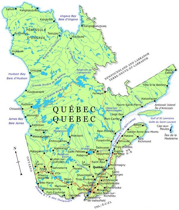 Modern Map Of Quebec Saurette And Oligny Genealogy - Quebec map with cities
